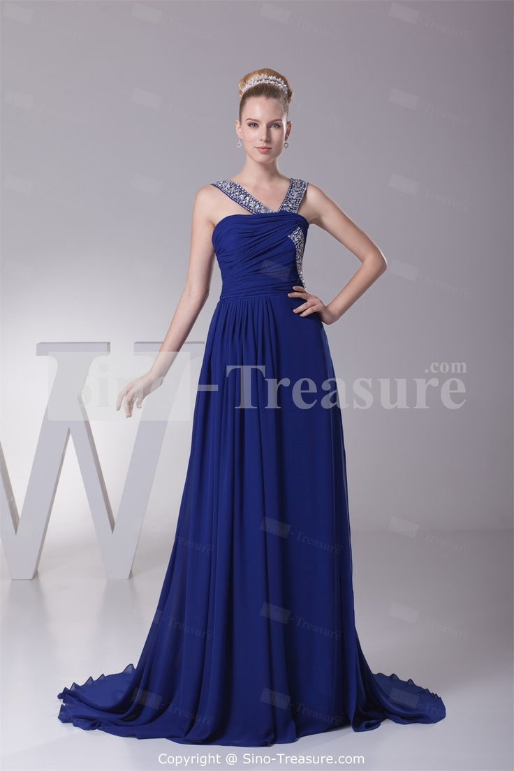 Royal Blue Chiffon V-neck Sleeveless A-Line Beading Evening Dress Wholesale  Price  9253a554a