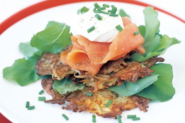 They may look fancy but these crispy potato roesti with smoked salmon, cream cheese and chives will be on the table in less than half an hour.
