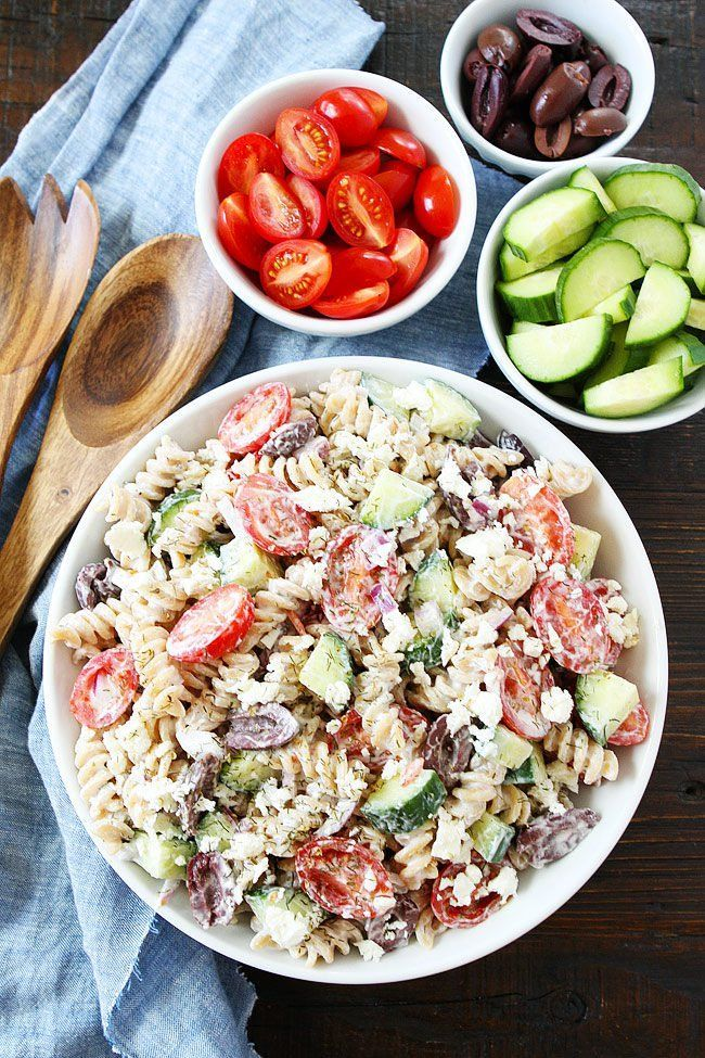 Creamy Greek Pasta Salad is an easy side dish for potlucks