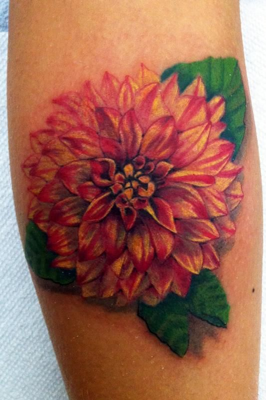 Off the Map Tattoo : Tattoos : Canyon Webb : dahlia