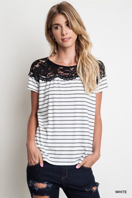 Bestselling striped short sleeve tee! Features front lace detail from shoulder to shoulder over soft jersey knit.