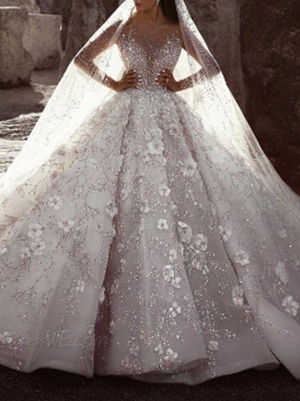 Buy Flowers Floor Length Scoop Ball Gown Church Wedding Dress