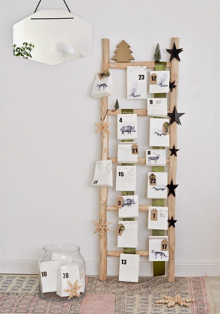 noch ein kreativer #Adventskalender. #selbstgemacht - aus #Holz im natürlichen Stil