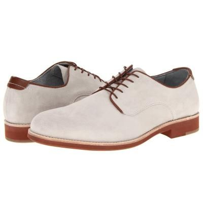 $140, Ellington Plain Toe Lace Up Casual Shoes White Suede by Johnston