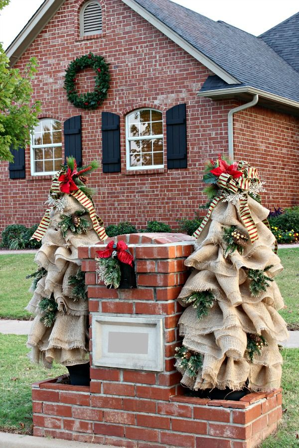 Dimples and Tangles: HOLIDAY STYLE CHALLENGE WITH THE HOME DEPOT.  Burlap Christmas Trees.  She Used Tomato Cages And Put Lights Underneath,So It Lights Up At Night. More Pictures On Her Blog. She Is Also Going To Give Tutorial.