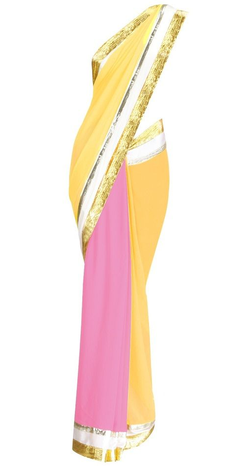 Yellow and pink sari with offwhite & pink satin borders and embroidered gota triangles on pallu.