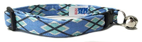 Breakaway Cat Collar in Blue Argyle Handmade in the USA * You can find more details by visiting the image link.
