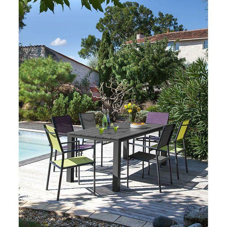 salon de jardin alu 6 places gris elena maison facile salons de. Black Bedroom Furniture Sets. Home Design Ideas