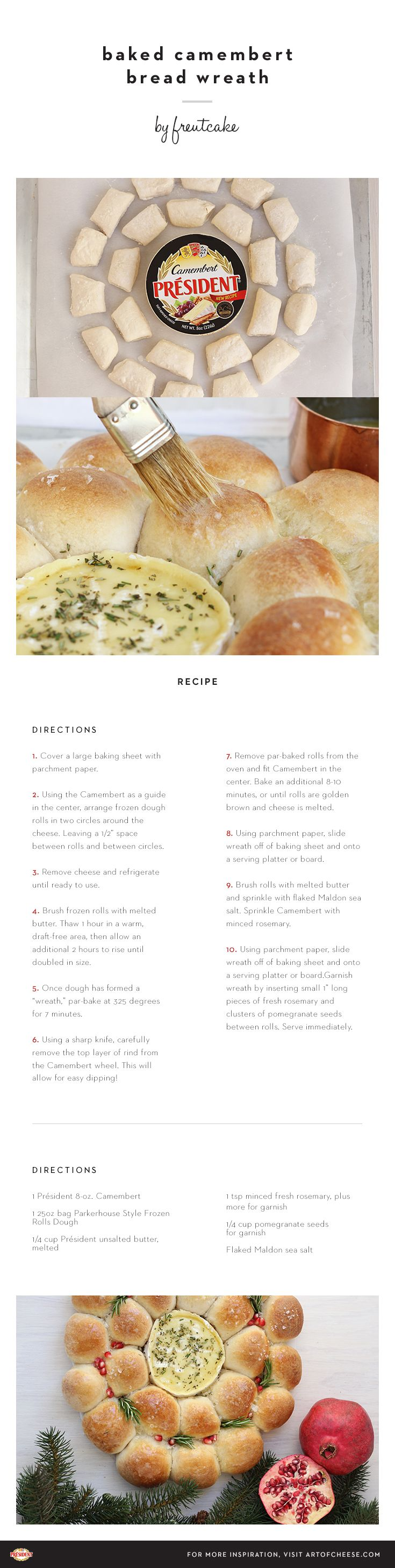 With this baked Camembert idea by @freutcake, you don't have to pick just one friend to share your fresh-baked bread wreath. #artofcheese #Camembert #cheese #appetizer #dip #holiday #Christmas