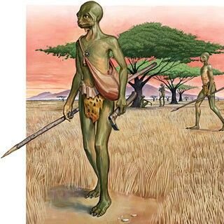 Intulo- african myth: a reptilian humanoid. Some speculate it is an undiscovered primate with reptilian characteristics. In legend, it is a fast, blue headed lizard that proclaims death for humanity.