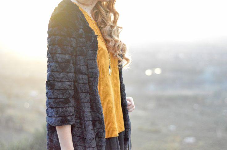 Faux fur coat by #MollyBracken & #Pull&Bear sweater. Now on: www.thespirald.com