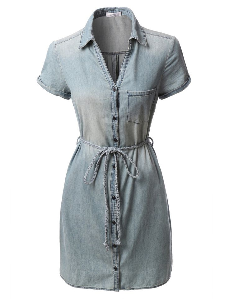 LE3NO Womens Chambray Button Down Short Sleeve Shirt Dress