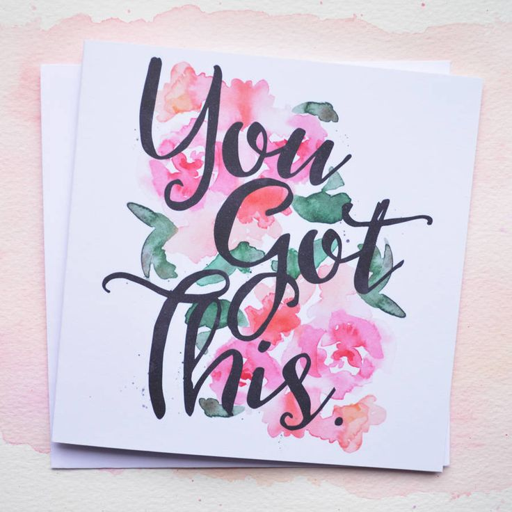 A pretty floral watercolour 'Good Luck' cardLet someone know 'You Got This' and wish them good luck with our floral watercolour and calligraphy font card. Perfect for that big job interview, driving test or exam! Left blank inside so you can write your own personal greeting and all our cards come with a heart sticker seal.350gsm quality card stock, square white envelope and sticker sealSquare 13cm x 13cm