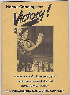 VICTORY CANNING PHILADELPHIA GAS UTILITIES VINTAGE WWII HOMEFRONT RECIPE BOOK