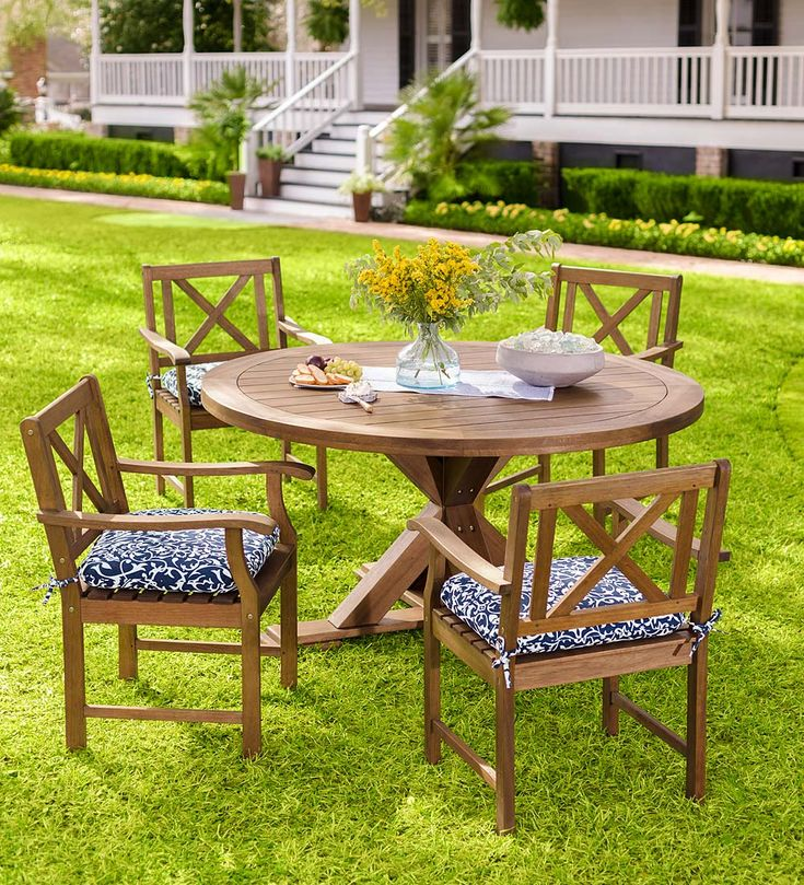 Plow   Hearth Claremont Eucalyptus Round Dining Table and Chairs. 81 best Wood Patio Furniture   Outdoor Furniture images on