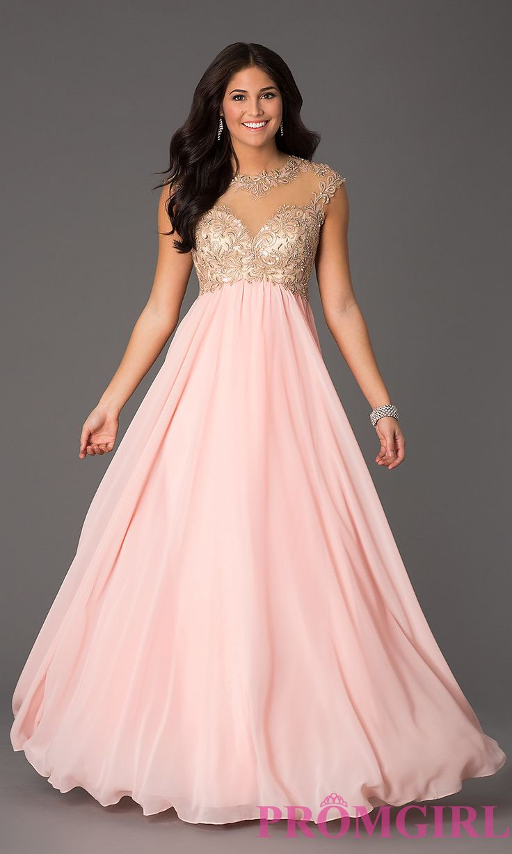 Prom Dresses, Plus Size Dresses, Prom Shoes: Floor Length Cap Sleeve Dress with Illusion Bodice by Masquerade