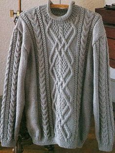 Free Knitting Patterns: Pullover for man.  Think about center panel on pillows:   Charts for cables, etc. but not a complete pattern.