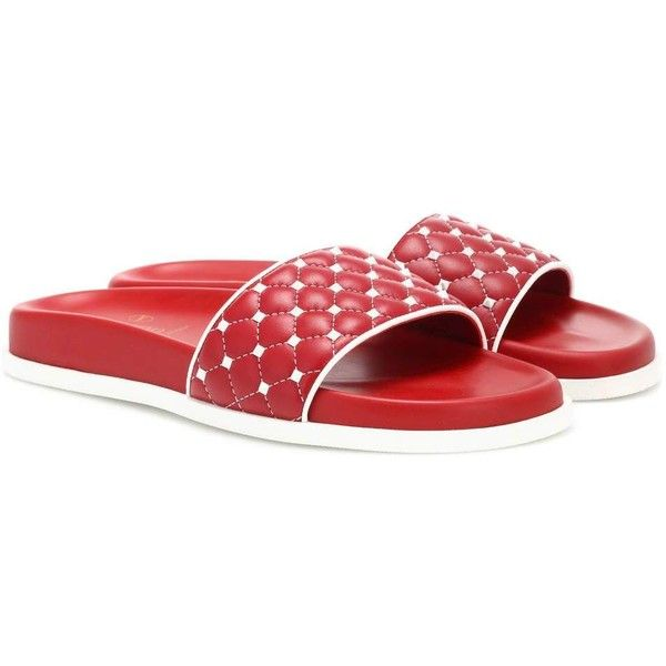 Valentino Valentino Garavani Free Rockstud Spike Leather Slides ($830) ❤ liked on Polyvore featuring shoes, red, leather footwear, red shoes, valentino shoes, red leather shoes and red spike shoes