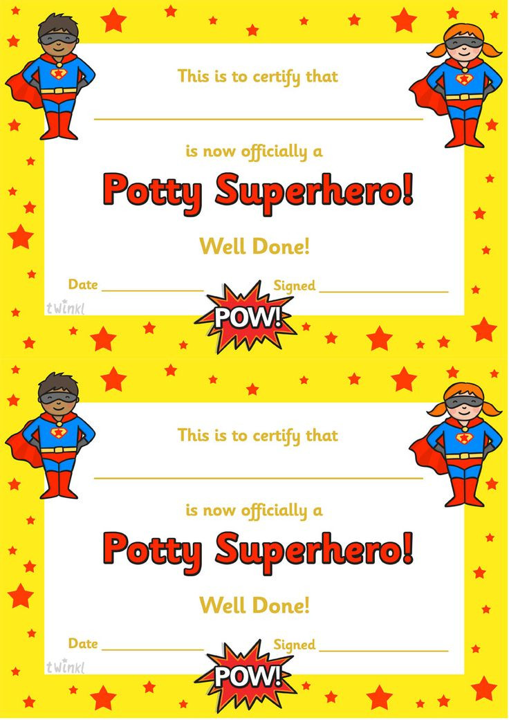 twinkl resources  u0026gt  u0026gt  potty superhero certificate