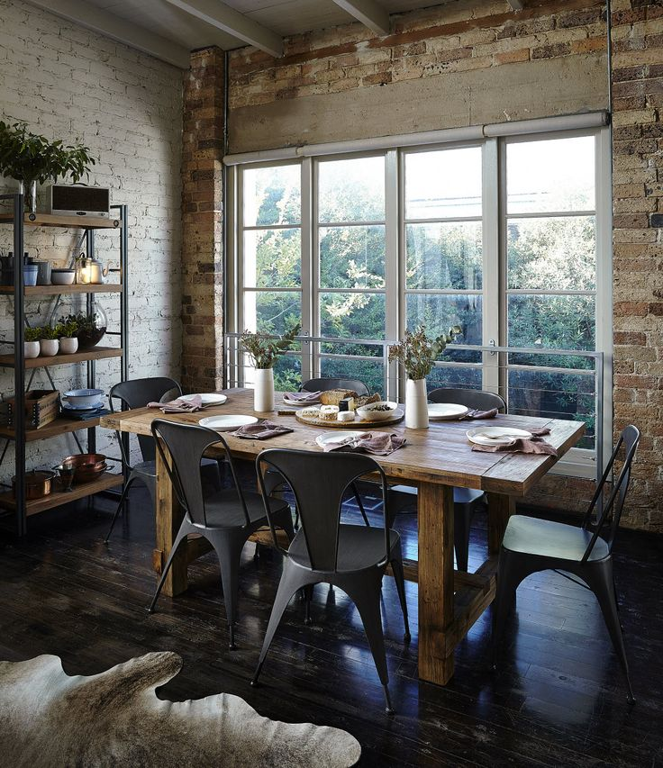 Industrial 7 Piece Dining Suite   For The Perfect Industrial Luxe Look |  Super A