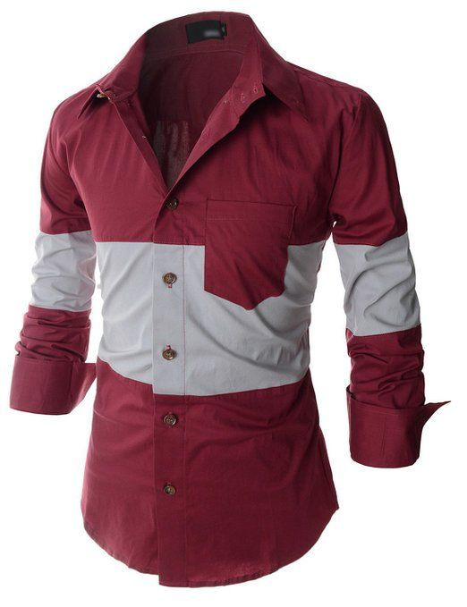 Showblanc (SBDST3) Man Slim Fit 2 Tone Colored Shoulder Casual Cotton Shirts at Amazon Men's Clothing store: