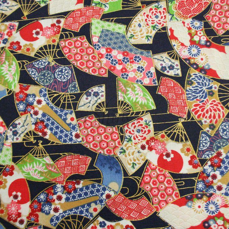 Oriental Fan Cottage Print Cotton | Shine Trimmings & Fabrics