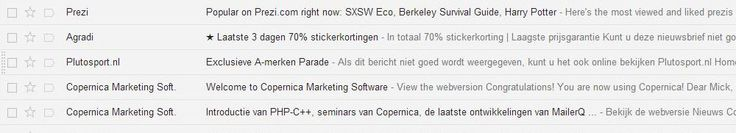 E-mail Marketing TIP- symbool in onderwerp mailing