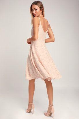 a448bebcba71 Sweet Like Sugar Blush Pink Lace Midi Skater Dress | Wedding ...