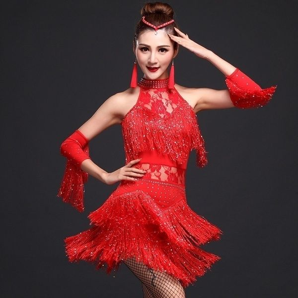Women Latin Tango Ballroom Salsa Dance Dress Tassel Dance Costume Mini Dresses