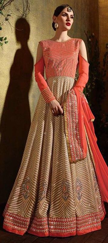 458107 Beige and Brown, Orange color family Anarkali Suits in Faux Georgette fabric with Lace, Machine Embroidery, Stone, Thread work .
