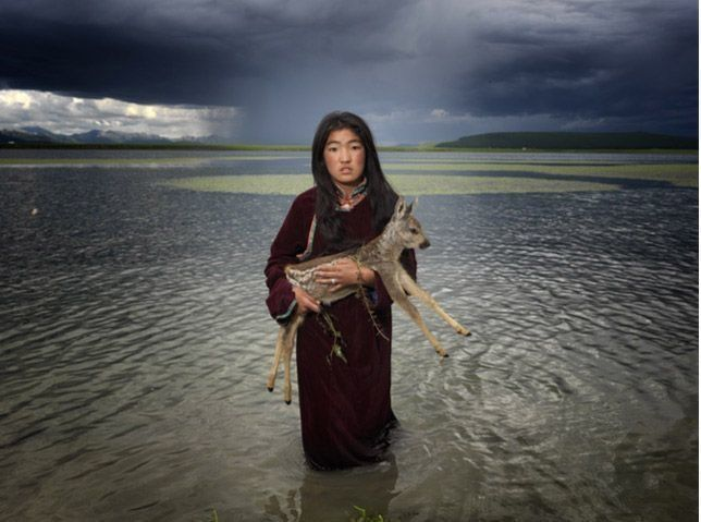 This reindeer baby is getting ready to get bathed | A Lost Mongolian Tribe Was Rediscovered By A Photographer