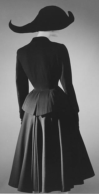 Suit Design House: House of Dior (French, founded 1947) Designer: Christian Dior (French, Granville 1905–1957 Montecatini) Date: spring/summer 1948 Culture: French Medium: wool, silk Dimensions: (a) Length at CB: 25 in. (63.5 cm) (b) Length at CB: 30 1/2 in. (77.5 cm)