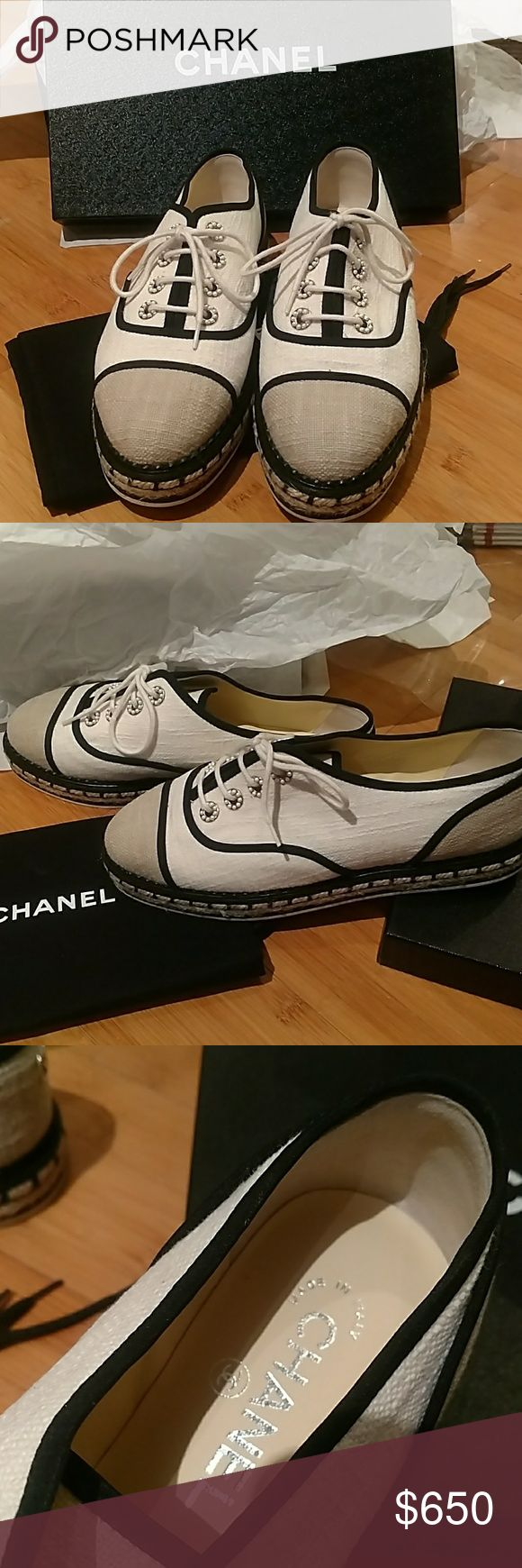 Chanel Espadrille sneakers tennis shoes 5.5 flats 100% authentic, brand new in box Chanel cotton lace up Espadrille tennis shoes/flats. These are European size 36.5 (US 6.5). Complete with original box and dust pouch. CHANEL Shoes Espadrilles