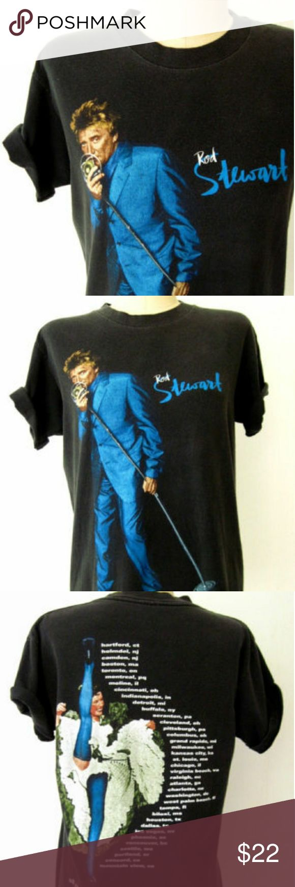 "90s Rod Stewart Tshirt Vintage Tour Tee 1990s ROD STEWART concert tee / t-shirt. Bright blue-suited Rod on front and all show locations on back, with ""all rod. all night"" at bottom. Great condition. Faded black preshrunk 100% cotton.   Fit for s/m:  up to 38"" bust 25"" length Tops Tees - Short Sleeve"