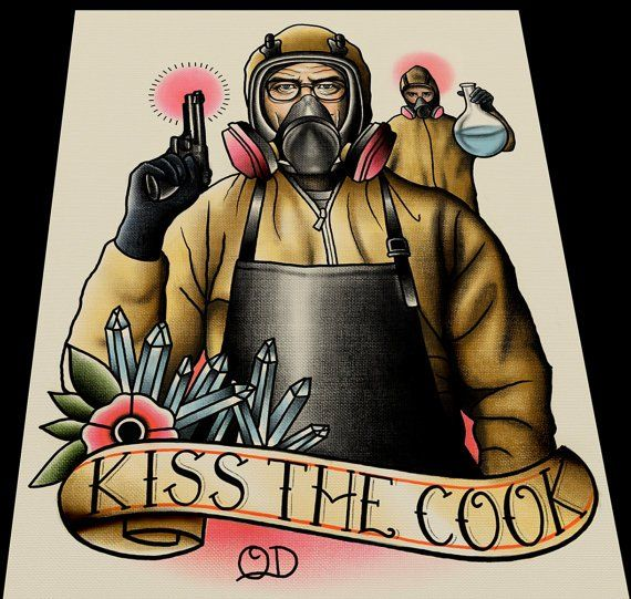 Breaking Bad. Tattoo artist makes beautiful tattoo flash from movies and tv.