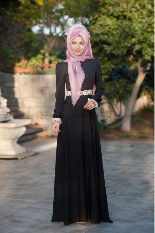 İpek Elbise - Siyah - Femy Store