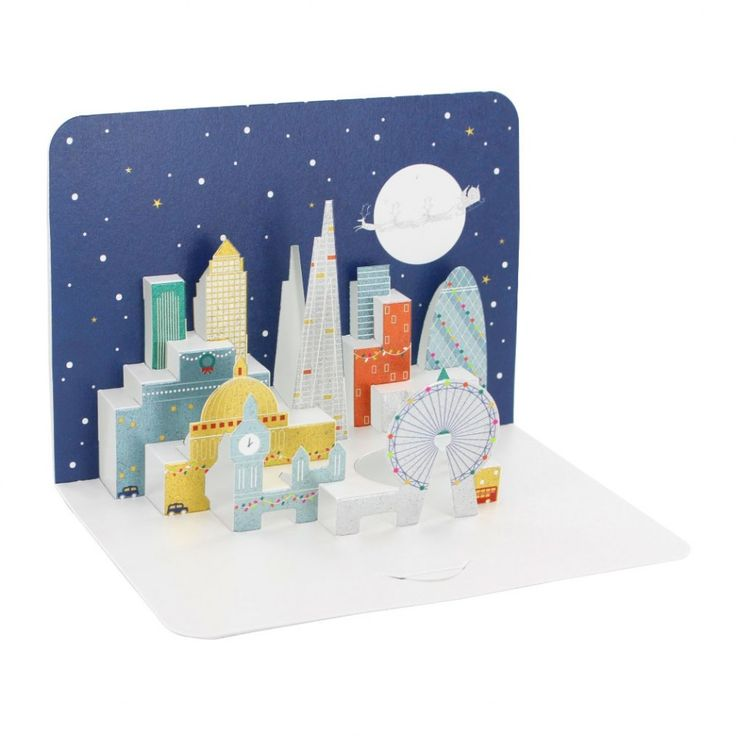London skyline 3D pop-up Christmas cards - set of 5