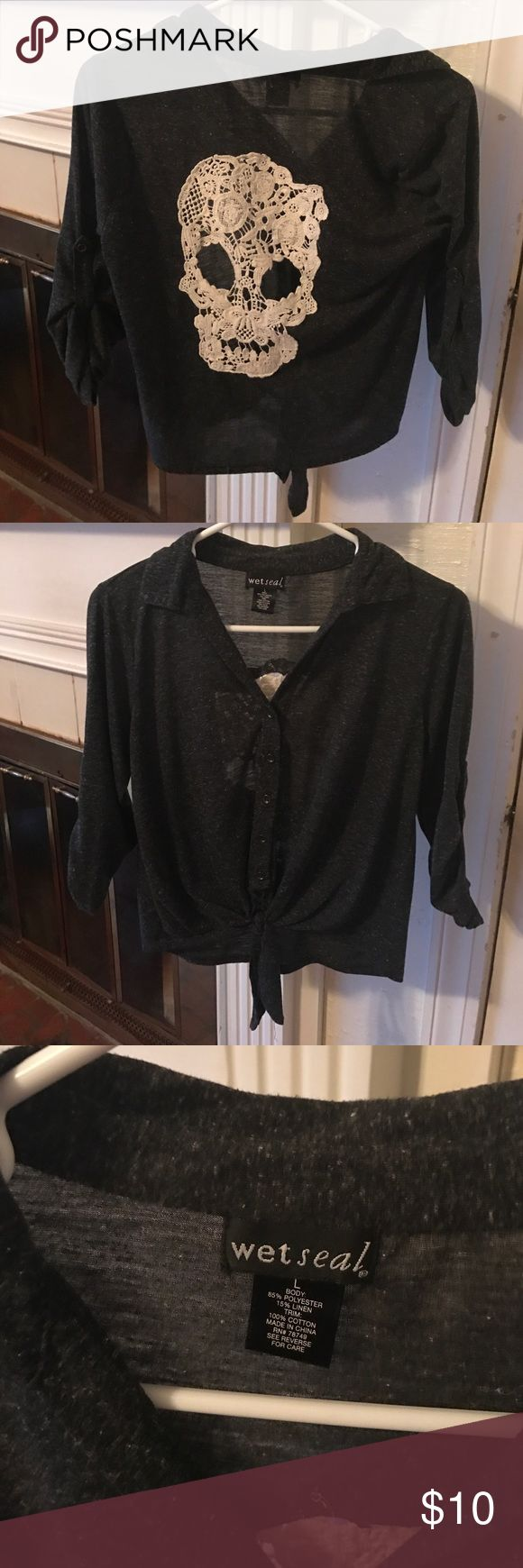 Lace skull cardigan. So cute! It is a large so it's a little big and fits super cute. Wet Seal Sweaters Cardigans