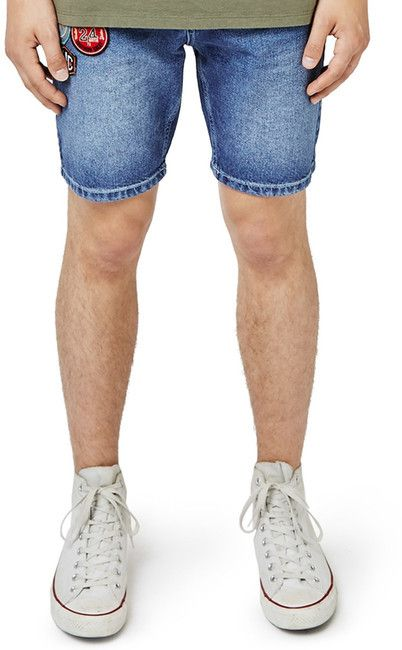 TOPMAN Slim Fit Denim Shorts with Patches