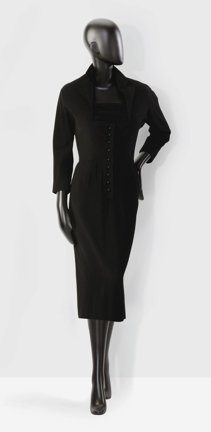 Marcel Rochas Haute couture, 1952  A felted wool day dress
