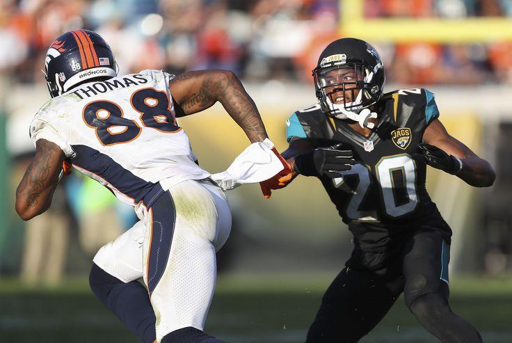 Dec 4, 2016; Jacksonville, FL, USA; Jacksonville Jaguars cornerback Jalen Ramsey (20) defends Denver Broncos wide receiver Demaryius Thomas (88) in the second half at EverBank Field. The Denver Broncos won 20-10.  (3824×2562)