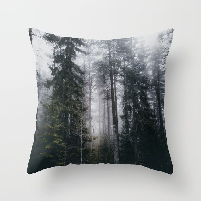 Into the forest we go Throw Pillow by HappyMelvin. #nature #forest #wanderlust #mystic #fog #homedecor #pillows