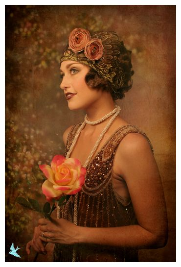 "1920s style, but not an original photograph, this has been treated to ""look old"" but isn't actually.Thinking this must be theatrical..."