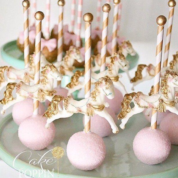 Beautiful carousel horse cake pops from @cakepoppn #sweetlychicevents…