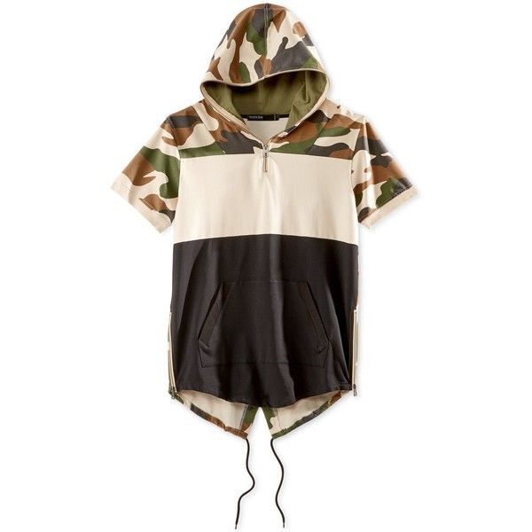 Hudson Nyc Men's Colorblocked Camouflage Short-Sleeve Fishtail Hoodie (560 ARS) ❤ liked on Polyvore featuring men's fashion, men's clothing, men's hoodies, camo, mens camo hoodies, mens hooded sweatshirts, mens camouflage hoodies, mens sweatshirts and hoodies and mens hoodie