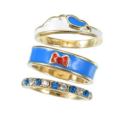Donald Duck 3 Piece Ring Set