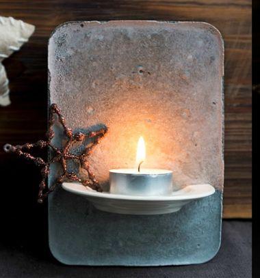 DIY Concrete tea light holder with porcelain saucer // Karácsonyi mécsestartó betonból porcelán csészealjjal // Mindy - craft tutorial collection // #crafts #DIY #craftTutorial #tutorial