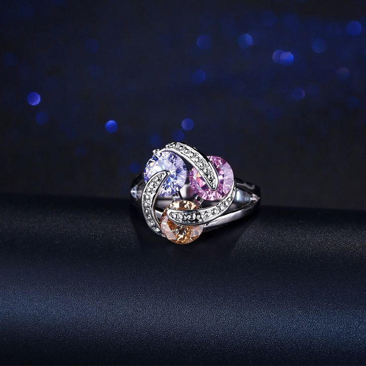 Rotating Design Sparkling Pink Yellow Purple CZ Crystal Engagement Rings For Women 925 Sterling Silver Jewelry R096 //Price: $9.95 & FREE Shipping //     #womanjewellery