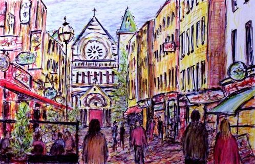 Colourful sketch of the vibrant South Anne's Street with it's restaurants, bars and shops.  This street is situated just off Grafton Street in the heart of Dublin city. This artwork captures a lively scene of people walking through the street and enjoying a meal at a restaurant. The beautiful St Anne's church in the background.