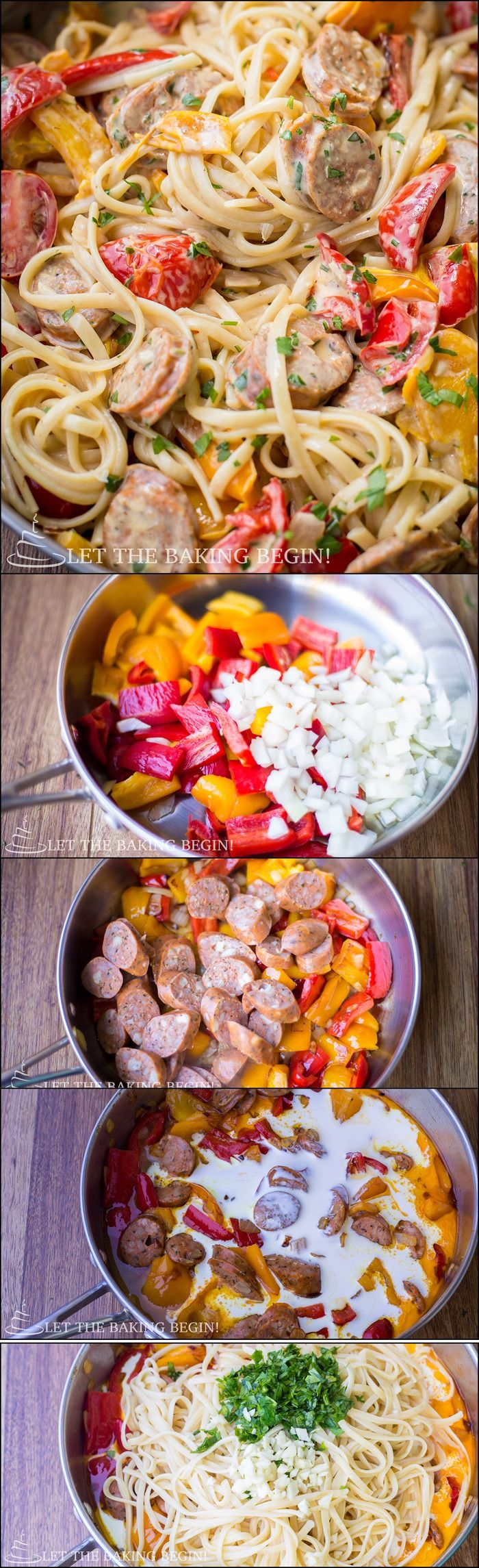 Quick & Delicious, Sausage, Pepper and Fettuccine Skillet is a Dinner That's Sure to Impress Your Family